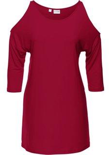Удлиненная футболка с вырезами в области плеч (темно-красный) Bonprix