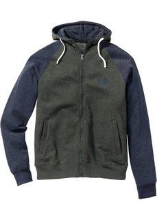 Трикотажная куртка Slim Fit (оливковый/темно-синий меланж) Bonprix