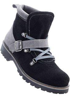 Замшевые ботинки (черный/серый) Bonprix