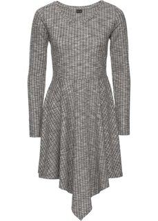 Платье в рубчик с асимметричным подолом (серый меланж) Bonprix