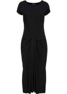 Трикотажное платье со сборками (черный) Bonprix