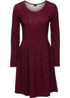 Трикотажное платье (кленово-красный/черный в горошек) Bonprix