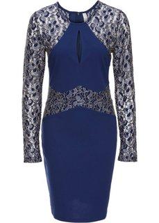 Платье с блестящими кружевными вставками (ночная синь) Bonprix