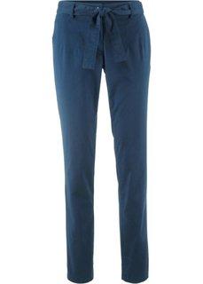 Стрейчевые брюки с текстильным поясом (темно-синий) Bonprix