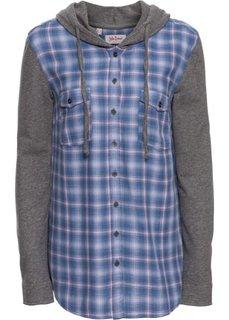 Клетчатая блуза с трикотажными рукавами и капюшоном (розовый/синий в клетку) Bonprix