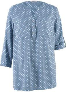 Блуза с рукавами 3/4 (синий матовый/белый в горошек) Bonprix