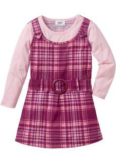 Платье-сарафан 2 в 1 (ягодный/розовый в клетку) Bonprix