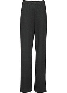 Широкие трикотажные брюки на кнопках (черный) Bonprix