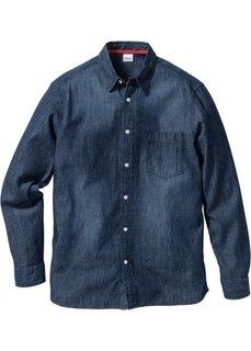 Джинсовая рубашка Regular Fit с длинным рукавом (темно-синий) Bonprix
