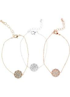 Набор браслетов с восточным орнаментом (3 шт.) (золотистый/серебристый/розово-золотистый) Bonprix
