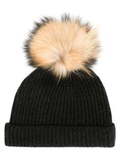 шапка со съемным меховым помпоном N.Peal