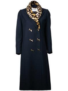 двубортное пальто с леопардовой отделкой Muveil