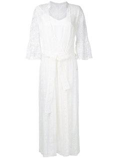 вышитое платье длины миди с рукавами Muveil