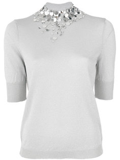 трикотажная блузка с отделкой пайетками Delpozo
