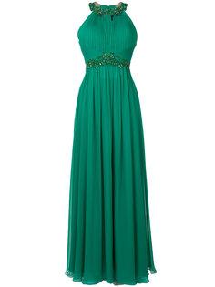 плиссированное длинное платье с вышивкой Marchesa Notte