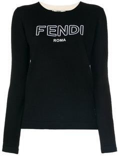 пуловер с круглым вырезом и логотипом  Fendi