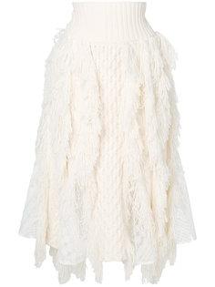 трикотажная юбка с бахромой Sacai