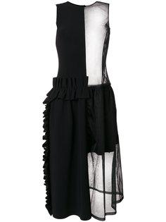 платье с прозрачной вставкой и оборкой  Paskal
