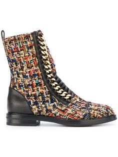 твидовые ботинки в военном стиле Casadei
