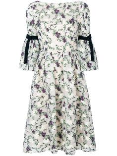 платье с цветочным принтом и расклешенными рукавами  Erdem