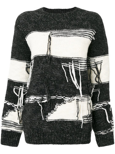 состаренный свитер в полоску  Sjyp