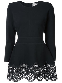 embroidered peplum blouse  Lela Rose