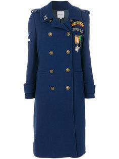 двубортное пальто с заплатками Mira Mikati