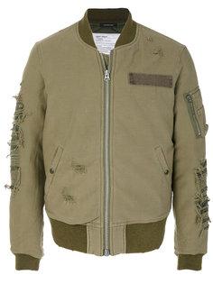 куртка бомбер с рваными деталями R13
