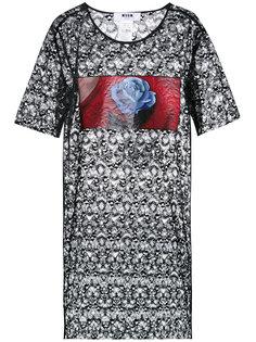 кружевное платье-рубашка  MSGM