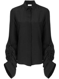рубашка со сборками на рукавах Saint Laurent