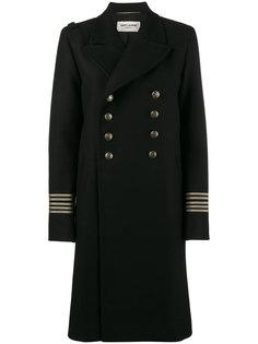 двубортное пальто милитари Saint Laurent