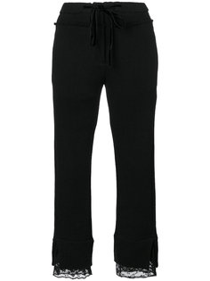 укороченные брюки с кружевной вышивкой  Ann Demeulemeester