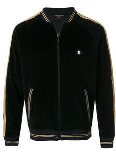 бархатная куртка-бомбер  с контрастной окантовкой  Roberto Cavalli