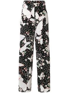 брюки с цветочным принтом Valentino