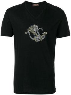 футболка с принтом змеи Roberto Cavalli