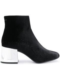 ботинки на серебристом каблуке Mm6 Maison Margiela