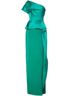 платье в пол на одно плечо с драпированной баской Marchesa