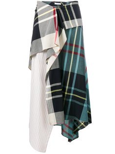 асимметричная юбка с завышенной талией и узором тартан  J.W.Anderson