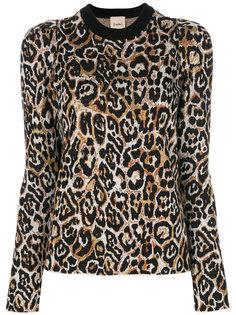 леопардовый джемпер с подплечиками Nude