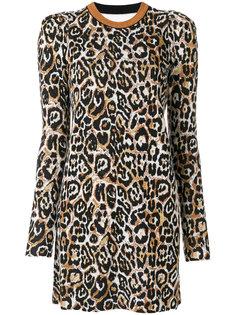 леопардовое платье мини с длинными рукавами Nude