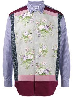 рубашка с цветочным узором в стилистике пэчворк Comme Des Garçons Shirt