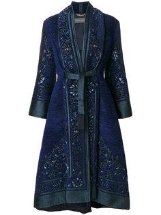 пальто с поясом и вышивкой Alberta Ferretti