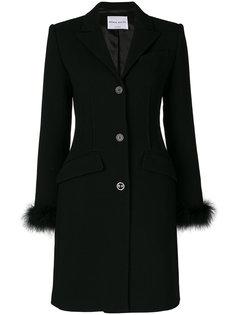 пальто на пуговицах с отделкой перьями  Sonia Rykiel