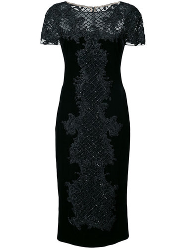 bead embroidery fitted dress Marchesa