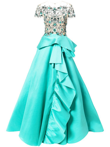 floral embroidery flared gown Marchesa