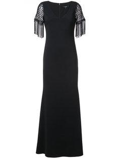 вечернее платье с бахромой на рукавах Badgley Mischka