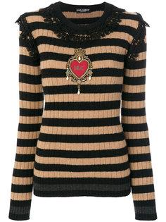 полосатый джемпер с кружевной оделкой Dolce & Gabbana