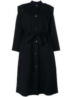 пальто с капюшоном и поясом  Emporio Armani