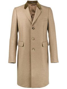 однобортное пальто с бархатным воротником Alexander McQueen