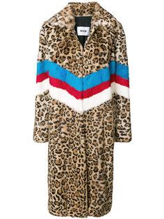 пальто в полоску с леопардовым принтом  MSGM
